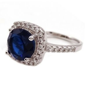SAVVY CIE Lab Sapphire Crystal Halo Cushion Ring